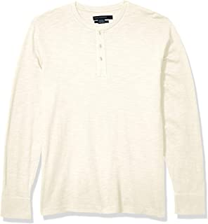 French Connection Men's 3 Button Solid Color Cotton Henley Shirt