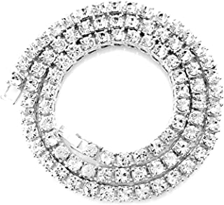 Best Iced Out Fake Diamond Tennis Chain for Men and Women Silver Gold Multicolored 16 18 20 22 24 30 Inches Review