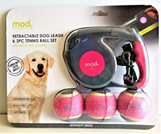 Retractable Dog Leash With LED Light & 3 Piece Tennis Ball Set with Reflective Stickers 15 Ft Length up to 77 lbs Pink (Pink)