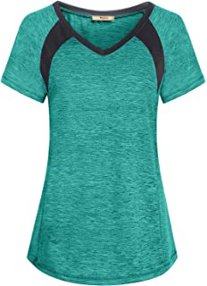 Miusey Womens Short Sleeve Round Neck Loose Fit Sport Activewear Workout Tops