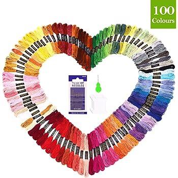 SOLEDI Hilo de Punto de Cruz 100 Tipos de Colores Bordados Hilo de ...