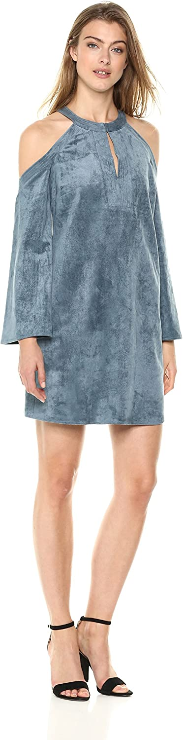 BCBGMAXAZRIA Womens Laguna FauxSuede ColdShoulder Dress Casual Dress