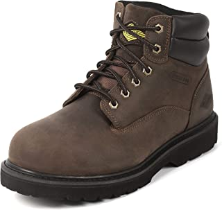 """Steel Toe Work Boots for Men 6"""" - Safety Shoes Slip Resistant & Electrical Hazard Work Boots"""