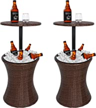 ZenStyle Height Adjustable Cool Bar Rattan Style Outdoor Patio Table Designed Cooler All-Weather Wicker Bar Table with Ice...