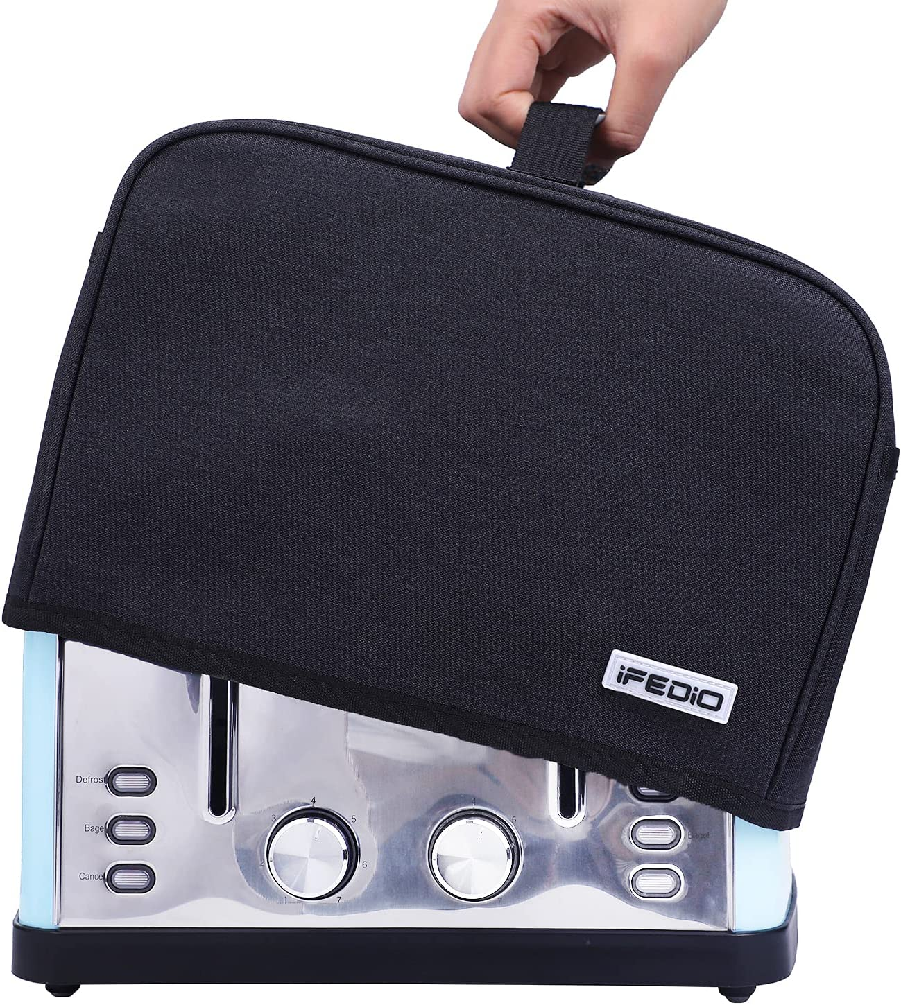 iFedio 4 Slice Toaster Cover with Pockets & Top Handle,Small Appliance Toaster Dust Cover, Machine Washable(Black)