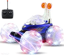 Haktoys HAK101 Blue Invincible Tornado Acrobatic Stunt RC Car, Radio-Controlled Rechargeable Vehicle with Flashing LED Lights & Music Switch, Safe & Durable, Gift for Kids, Boys & Girls