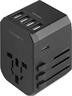 ENERGEA All-in-one, 4-USB travel adapter with US/UK/AU/EU/Asia AC outlet plug converters.