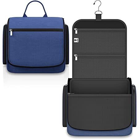 Toiletry Bag for Men and Women with Waterproof Materials and Swivel Hook Hanger
