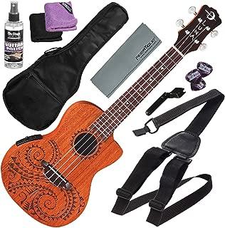 Luna Uke Tattoo Concert Acoustic-Electric Ukulele with Preamp & Gigbag + Basic Accessory Bundle