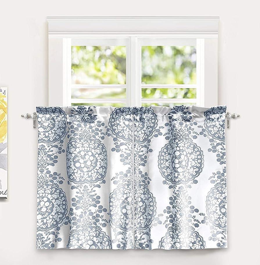 DriftAway Samantha Floral/Damask Medallion Pattern Kitchen Tier Window Treatment,Set of Two, Each 30