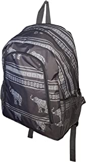 High Fashion Print Medium Sized BackpackCustom Personalization Available (Elephant Gray Stripe)