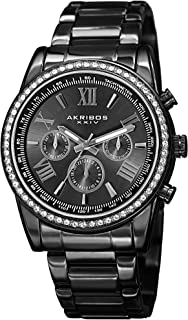 Akribos Multi-Function Swarovski Crystal Accented Steel Bracelet Watch - Three Hand Movement with Two Time Zones and Date ...