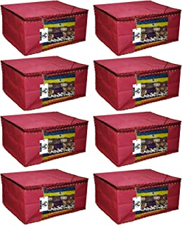 """Virtue Saree Cover Storage Bag Big for Clothes with Zip Organizer for Wardrobe, Set of 8, Non Woven Fabric Cloth 9"""" Height Large Design Boxes for Blanket and Blouse, 17 x 14 x 9 Inches (Maroon)"""