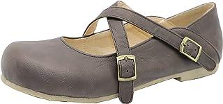 KemeKiss Girls Casual Flat Walking Dress Shoes Criss Cross Pumps