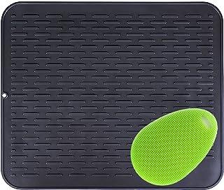 Extra grande 54x46cm, Escurreplatos de Silicona Mat soporte de silicona, salvamanteles estera, impermeable,  Con un cepillo de silicona multifuncional22x18 inch negro