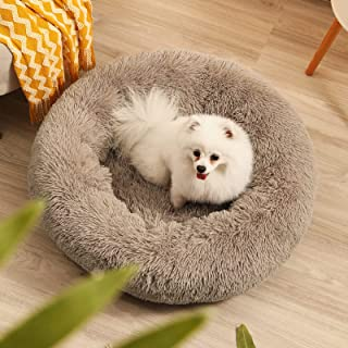 Donut Dog Beds for Small Dogs Cats,Yonet Calming Dog Bed Anti-Anxiety Dog Cuddler Bed Round Pet Cat Bed,Warming Fluffy Fau...