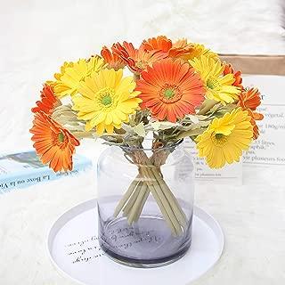 Ahvoler Artificial Gerbera Flower Realistic Fake Daisy Flowers Bridal Wedding Bouquet for Home Garden Wedding Party Decorations,7 Stems (Yellow+Orange)