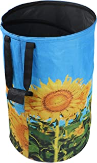 FLORA GUARD 32 Gallon Garden Bag - Reusable Pop-up Gardening Bag, Sun Flower Print Collapsible Canvas Portable Yard Waste Bag