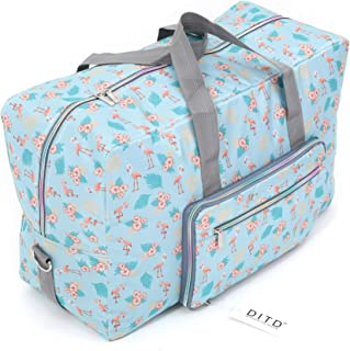 Folding Pattern Print Travel Luggage Bag Carrying One Shoulder Bag Waterproof Bag Bulk Storage Bag 22 Inch Travel Tote Duffel (Flamingo?Blue?)