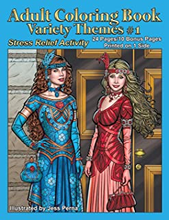 Adult Coloring Book Variety Themes #1: Stress Relief Activity