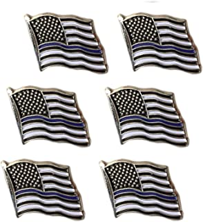 Thin Blue Line American Flag Lapel Pin - Set of 6