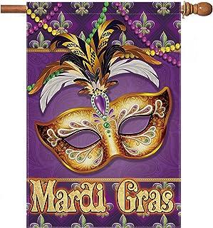 pinata Mardi Gras Flag 28x40 Double Sided Mardi Gras House Flag Banner Outdoor with Beads Mask Feathers Fleur De Lis, Burl...