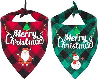2 Pack Dog Bandana Christmas Classic Plaid Pet Scarf Triangle Bibs Kerchief Merry Christmas Santa Snowman Print Pet Bandan...
