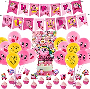 82 Pcs Kirby-Star Theme Birthday Party Decorations,Party Supply Set for Kids with 1 Happy Birthday Banner Garland , 13 Cupcake Toppers, 18 Balloons,50 Stickers for Party Decorations