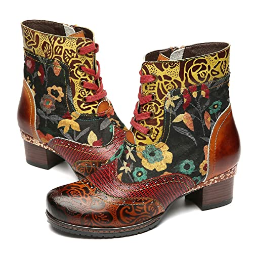 gracosy Ankle Bootie for Women, Leather Boots Vintage Fashion Short Boots Side Zipper Floral Pattern