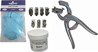 Animal Tattooing Kit Standard Size, with A-Z & 0-9, Nitrile Gloves, and Ink for Identification of Sheep, Pigs, Goats, Cattle Livestock