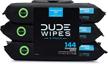 DUDE Wipes Flushable Wipes Dispenser (3 Packs 48 Wipes), Unscented Wet Wipes with Vitamin-E & Aloe for at-Home Use, Septic...