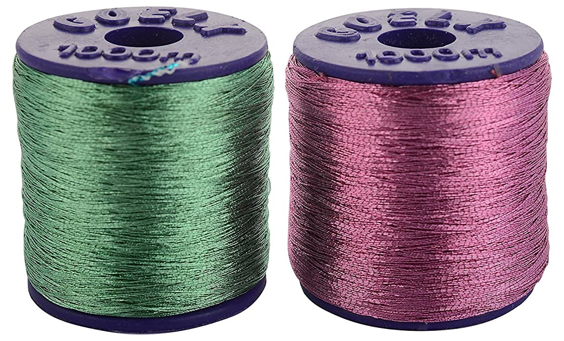 GOELX Zari Threads Light Green And Light Pink,For Beading-Jewellery Making/ Decorations/Crafts, Pack Of 2