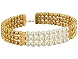 4mm Round Pearls on Gold Plated Steel Beaded Bangle with Security Chain