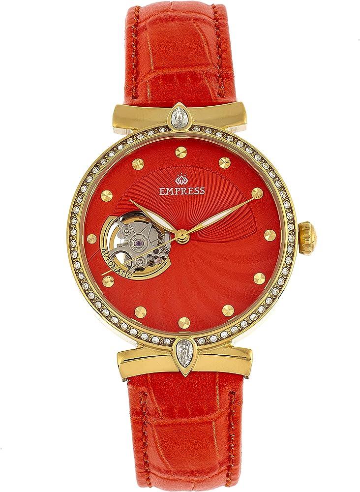 empress edith orologio autmatico da donna cassa in acciaio inossidabile 316l color oro con cinturino in pell empem3304