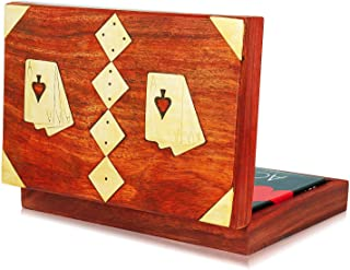 Unique Birthday Gift Ideas Handcrafted Classic Wooden Playing Card Holder Deck Box Storage Case Organizer With Dice & Two Packs of Premium Quality 'Ace' Playing Cards Anniversary Gifts For Him Her