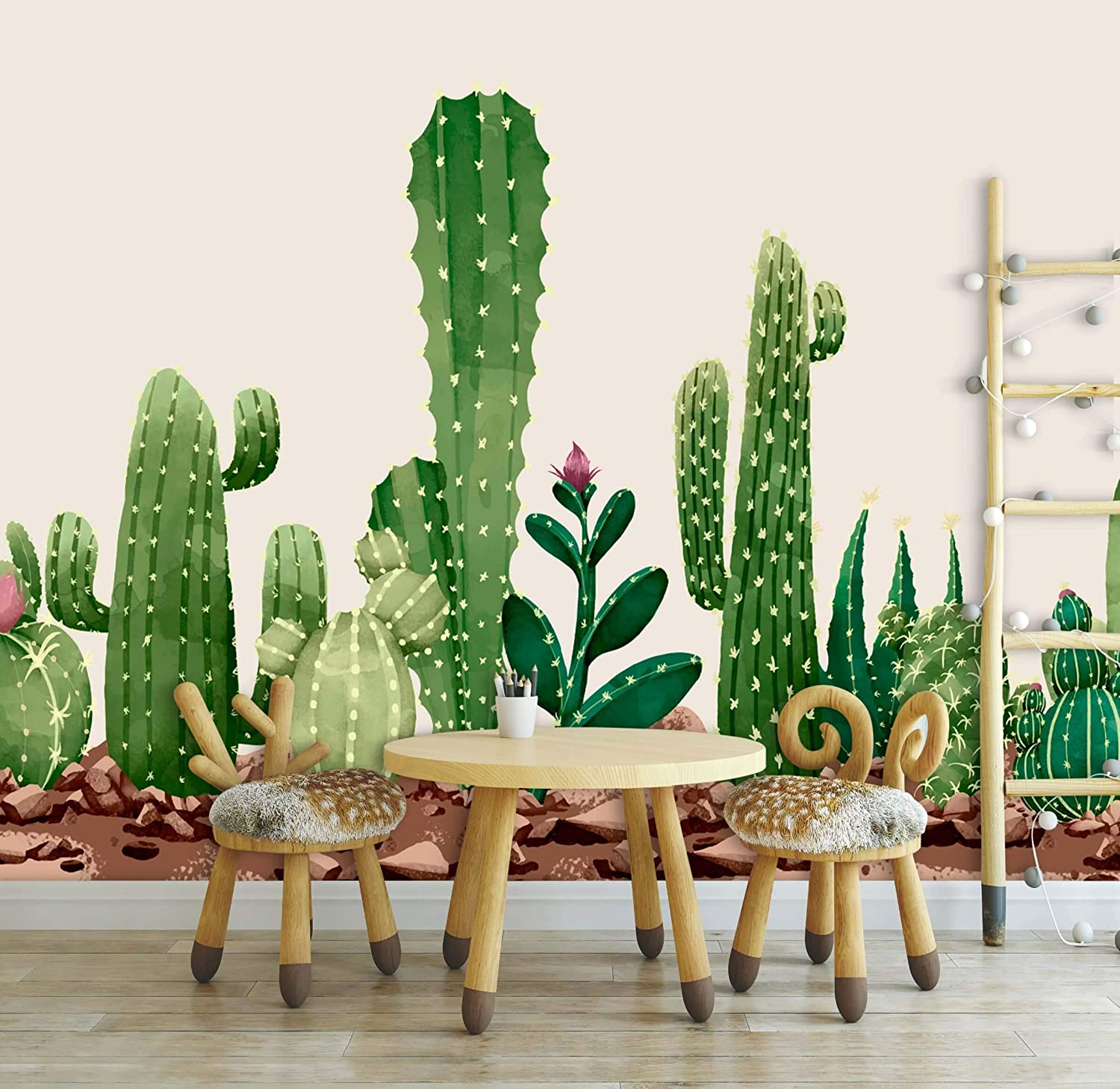 Cactus Pattern Animals Wallpaper For Poster Kids Ranking TOP3 Child Limited time for free shipping Room Wall