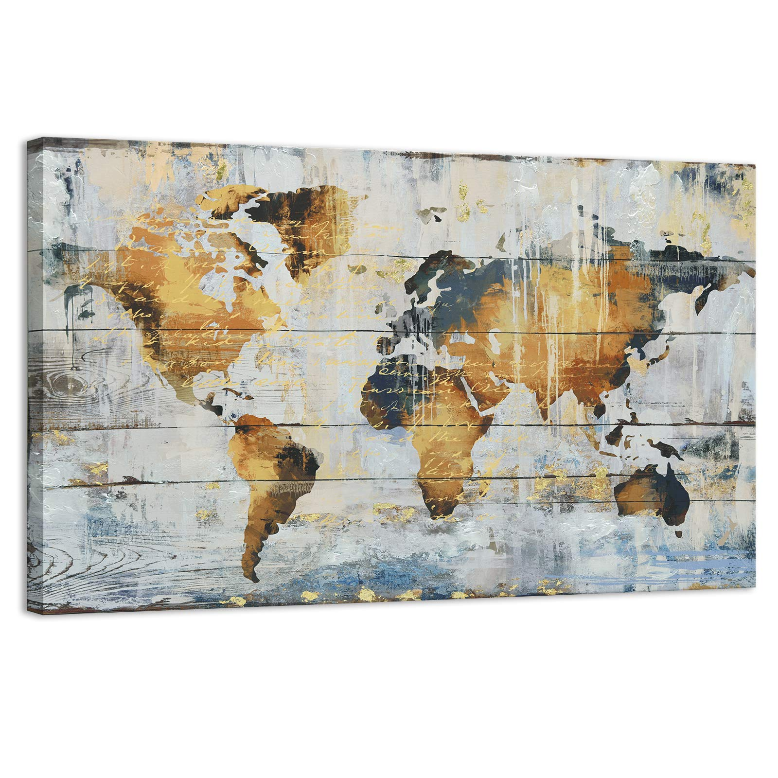 Kas Home Abstract Art Large Vintage World Map Gold Foil Canvas Prints Large Framed Wall Art