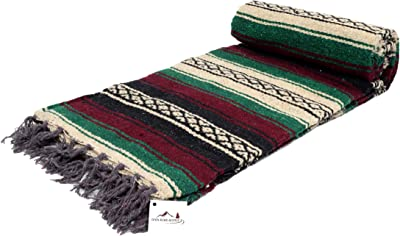 Open Road Goods Thick Mexican Blanket- Red/Maroon, and Green Colors. Great as a Mexican Yoga Blanket, Beach Blanket, Picnic Blanket, or Mexican Style Decorative Throw