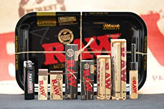 Bundle - 9 Items Raw Black Gold Tray Rolling Paper Combo and Patriot Disposable Lighter