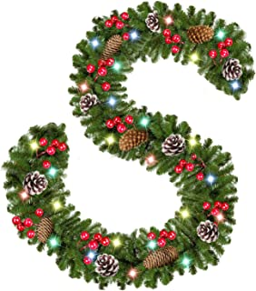 Christmas Garland with Lights,9 Ft 50 LED Xmas Garland Battery Operated with 18 Pine Cone 75 Berries,Christmas Decorations for Door Fireplace Stairs Mantel Home,Xmas Garlands Decor Indoor Outdoor