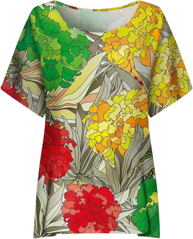 Damen T-Shirt Blumenmuster Shirt Vintage 3D Drucken Rundhals Kurzarm Oberteile Sommer Basic Oben Hemd Tops Bluse Tunika Pullover Pulli Hemd Womens Oversize Blouse Tee Sweatshirts