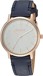 Nixon Men's Porter 35 Stainless Steel Japanese-Quartz Watch with Leather-Synthetic Strap, Blue, 17 (Model: A11992798)
