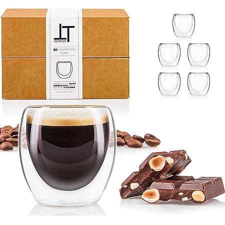 Tempery ✮ Tasse à café/Expresso/Espresso en Verre - 8cl - Set/Coffret de 6 Tasses à café Double paroi – Tasse Expresso Originale & Cadeau Parfait pour Toute Occasion