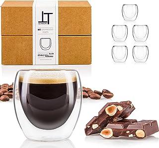 Tempery ✮ Tasse à café/Expresso/Espresso en Verre - 8cl - Set/Coffret de 6 Tasses à café Double paroi – Tasse Expresso Ori...