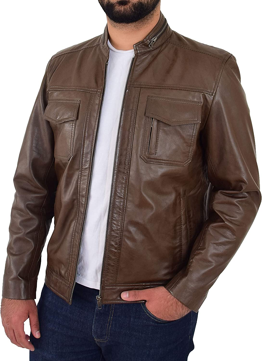 Biker Leather Jacket For Mens Timber Soft Nappa Fitted Standing Collar Zip Fasten Tats