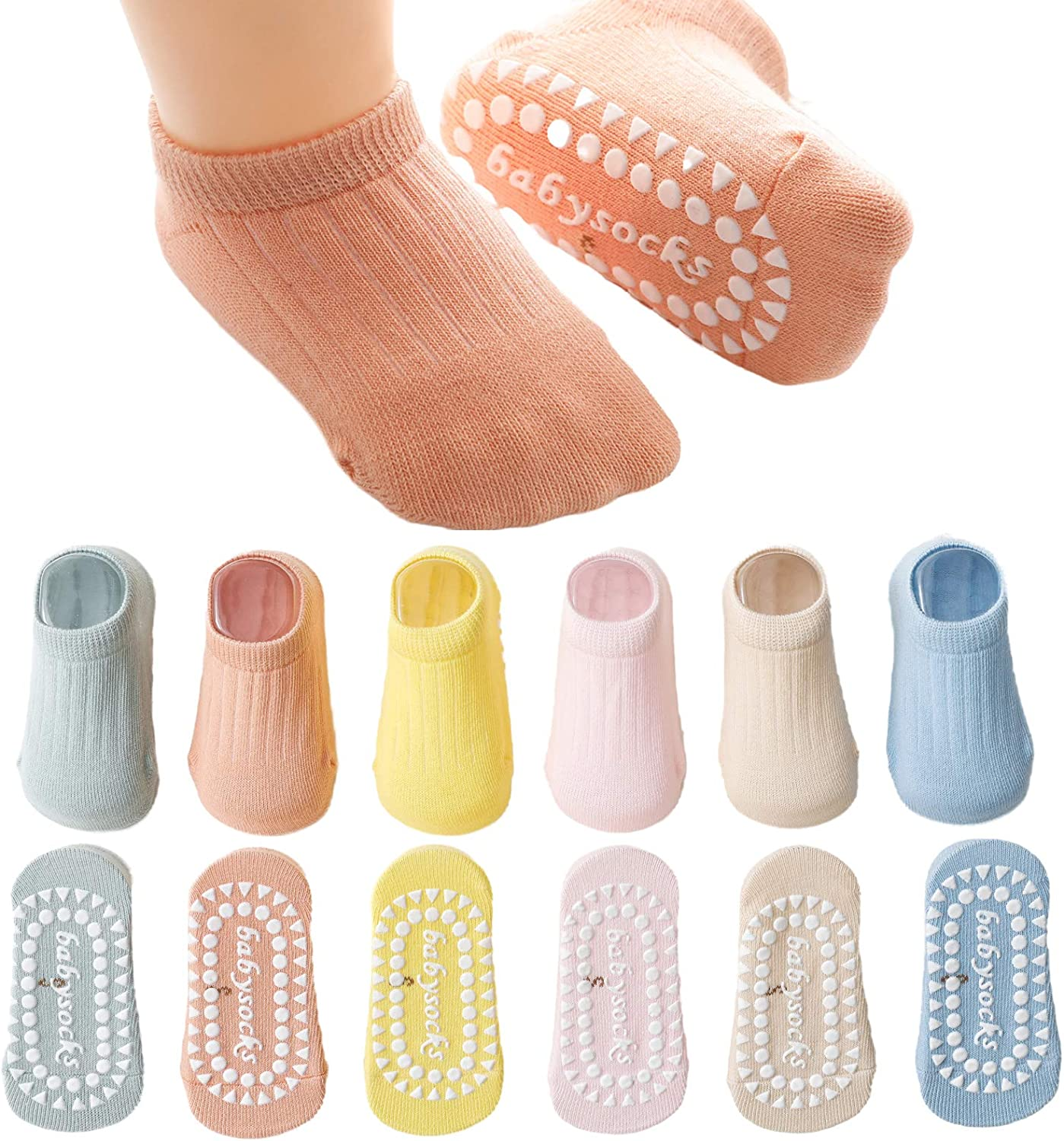 Kisgyst 6 Pairs Baby Girls Grip Ankle Socks Non Slip Soft Cozy Thin Low Cut Summer Socks Sneakers for 9-24 Months Toddler Little Kids