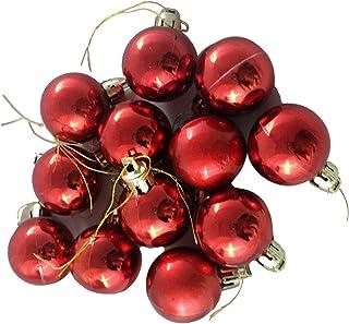 VMP Plastic Christmas Decoration Baubles Ball (3 x 3 x 3 cm, Red)