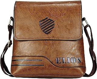 Elios Brown PU Leather Stylish Trendy Crossbody Travel Work Wear Messenger Bag For Men