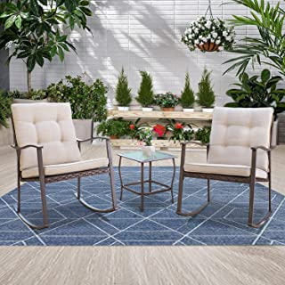 Incbruce Outdoor 3-Piece Rocking Chair Bistro Set Brown Wicker Furniture All-Weather Steel Frame - Two Chairs with Beige Cushions and Glass-Top Table, Garden, Pool, Backyard