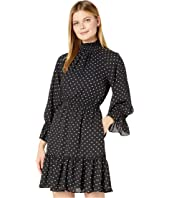 Long Smocked Sleeve Georgette Fit-and-Flare High Neck Dress